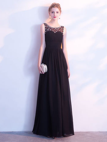 Chic Black Prom Dress A line Chiffon Scoop Beading Long Prom Dress Party Dress AM961