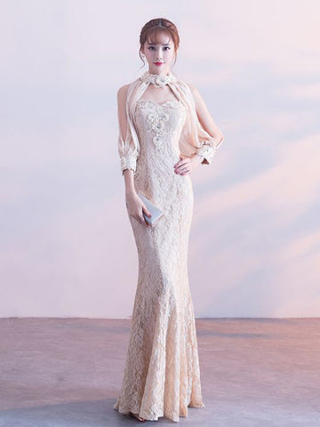 Chic Mermaid Prom Dress High Neck Long Sleeve Lace Prom Dress Evening Dress AM963
