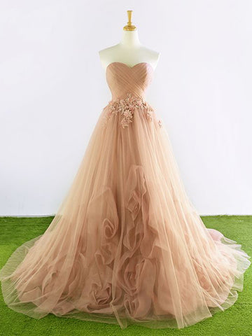 Chic Pearl Pink Prom Dress A-line Sweetheart Applique Prom Dress Evening Dress AM965