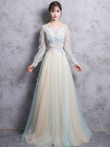 Chic Long Sleeve Prom Dress A-line Scoop Applique Tulle Prom Dress Evening Dress AM967