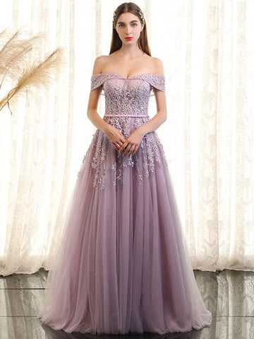 Chic Off Shoulder Prom Dress A-line Applique Long Prom Dress Evening Dress AM968