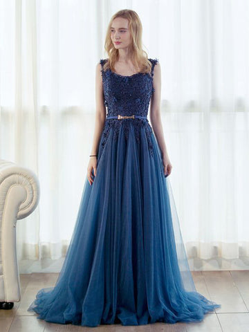 Chic Dark Blue Prom Dress A-line Straps Applique Tulle Prom Dress Evening Dress AM969