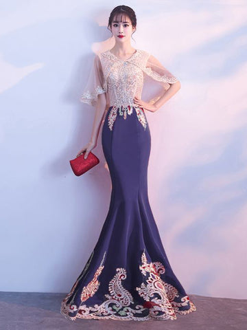 Chic Mermaid Prom Dress Scoop Floor Length Beading Prom Dress Evening Dress AM970