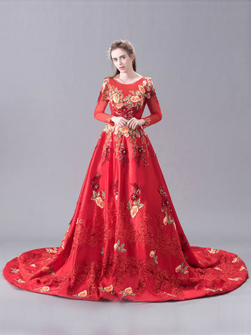 Chic A-line Prom Dress Scoop Applique Long Sleeve Red Prom Dress Evening Dress AM972