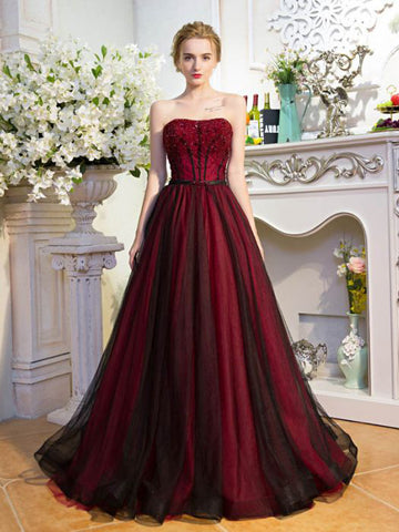 Chic Burgundy Prom Dress A-line Black Strapless Tulle Beading Prom Dress Party Dress AM973