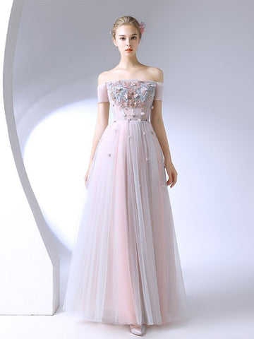 Chic Pink Prom Dress A-line Off-the-shoulder Applique Prom Dress Evening Dress AM974