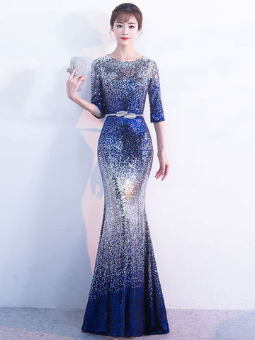 Chic Royal Blue Prom Dress Mermaid Scoop Sequins Prom Dress Evening Dress AM976