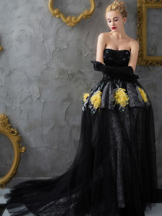 a979666bad4b3 Chic Black Prom Dress Mermaid Ball Gowns Strapless Lace Prom Dress Eve –  AmyProm