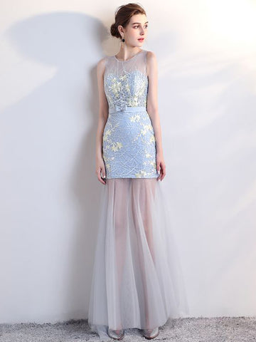 Chic Blue Prom Dress Sheath/Column Scoop Applique Prom Dress Evening Dress AM978