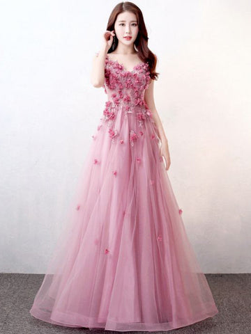 Chic Pink Prom Dress A-line V-neck Applique Modest Prom Dress Evening Dress AM980