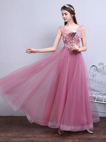Chic Pink Prom Dress A-line V-neck Applique Tulle Prom Dress Evening Dress AM981