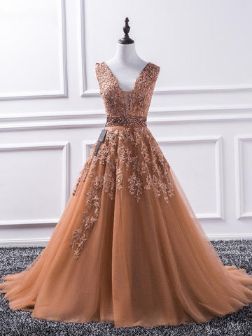 Chic Brown Prom Dress A-line V-neck Applique Long Prom Dress Evening Dress AM984