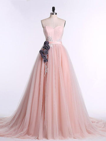 Chic Pearl Pink Prom Dress A-line Sweetheart Tulle Applique Prom Dress Party Dress AM985