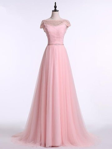 Chic Pink Prom Dress A line Tulle Bateau Beading Long Prom Dress Party Dress AM986