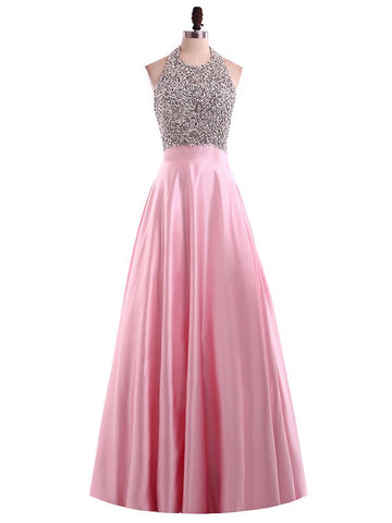 Chic Pink Prom Dress A-line Beading Halter Modest Long Prom Dress Party Dress AM989