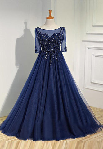 Chic Dark Navy Prom Dress A line Tulle Scoop Beading Long Prom Dress Party Dress AM990