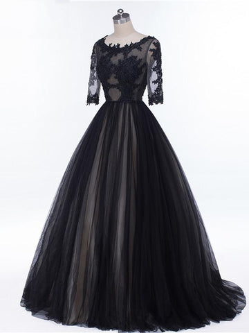 Chic Black Prom Dress A-line Lace Scoop Half Sleeve Long Prom Dress Party Dress AM991