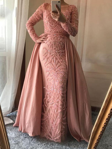 Chic Pink Prom Dress Sheath/Column Scoop Sequins Prom Dress Evening Dress AM993