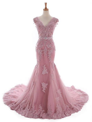 Chic Mermaid Prom Dress Pink V-neck Applique Long Prom Dress Evening Dress AM995