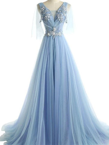 Chic Blue Prom Dress A-line V-neck Applique Long Prom Dress Evening Dress AM997