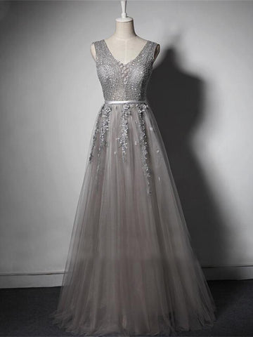 Chic Gray Prom Dress A-line V-neck Beading Long Prom Dress Evening Dress AM999