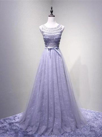 Chic A-line Prom Dress Lavender Scoop Beading Long Prom Dress Evening Dress AMY003