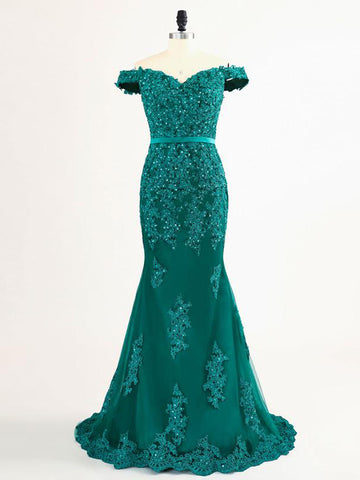 Chic Mermaid Prom Dress Off-the-shoulder Applique Dark Green Prom Dress Evening Dress AMY004