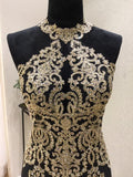 Chic Gold Prom Dress Sheath/Column Scoop Applique Prom Dress Evening Dress AMY005