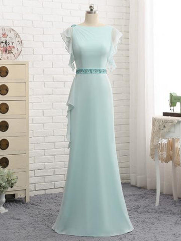 Chic Mint Prom Dress Sheath Bateau Beading Long Prom Dress Evening Dress AMY006