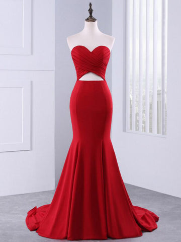 Chic Mermaid Red Prom Dress Sweetheart Simple Long Prom Dress Evening Dress AMY010