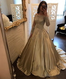 Chic Off Shoulder Gold Prom Dress Long Sleeve A line Sparkly Prom Dress Evening Dress AMY011