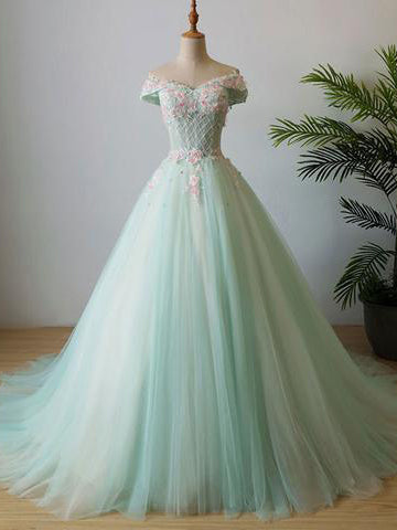 Chic Mint Prom Dress A-line Off Shoulder Applique Long Prom Dress Evening Dress AMY013