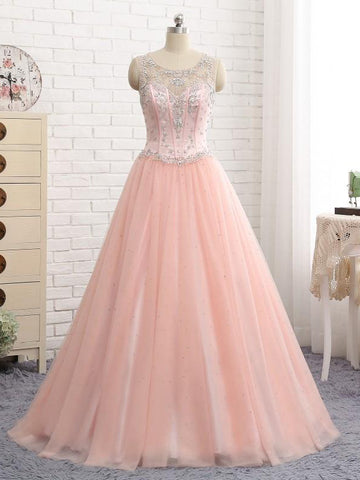 Chic A-line Pink Prom Dress Sleeveless Beading Prom Dress Evening Dress AMY014
