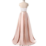 Chic Two Pieces Prom Dress A-line Halter Pearl Pink Prom Dress Evening Dress AMY017