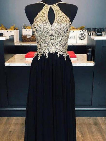 Chic Black Gold Prom Dress A-line Spaghetti Straps Applique Long Prom Dress Party Dress AMY017
