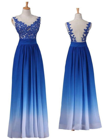 Chic Royal Blue Prom Dress A-line Applique Off Shoulder Long Prom Dress Party Dress AMY021