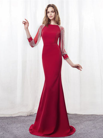 Chic Prom Dress Red Chiffon Red Bateau Long Prom Dress Mermaid Party Dress AMY028