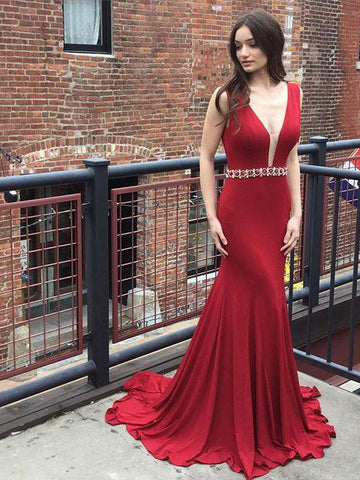 Chic Burgundy Prom Dress Mermaid Beading V neck Long Prom Dress Party Dress AMY035