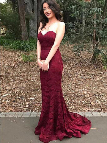 Chic Prom Dresses Burgundy Sweetheart Lace Beautiful Prom Dress Long Party Dress AMY036