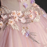 Chic Prom Dresses Ball Gown Off Shoulder Floral Beautiful Prom Dress Pink Evening Dress AMY039