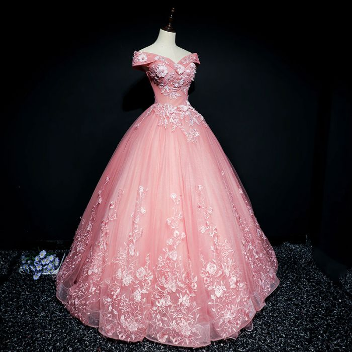 c92d7141a3 ... Chic Ball Gowns Prom Dress Pink Applique Off shoulder Long Prom Dress  Party Dress AMY040 ...