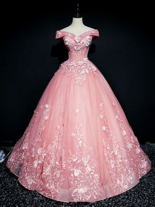 d084e4fb4db Chic Ball Gowns Prom Dress Pink Applique Off shoulder Long Prom Dress Party  Dress AMY040
