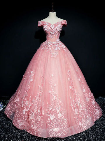 Chic Ball Gowns Prom Dress Pink Applique Off shoulder Long Prom Dress Party Dress AMY040