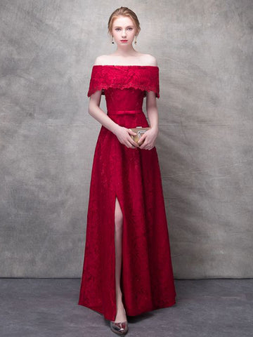 Chic Red Prom Dress Applique A-line Off shoulder Long Prom Dress Party Dress AMY041