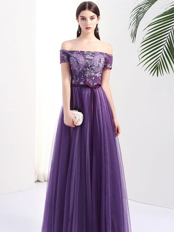 Chic Grape Prom Dress A-line Off Shoulder Applique Prom Dress Evening Dress AMY043