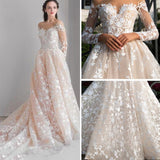 Chic V-neck Prom Dress A-line Long Sleeve Bateau Long Prom Dress Wedding Dress AMY046