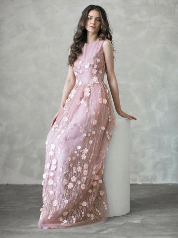 Chic A-line Prom Dresses Long Scoop Modest Pink Applique Cheap Long Prom Dress AMY047