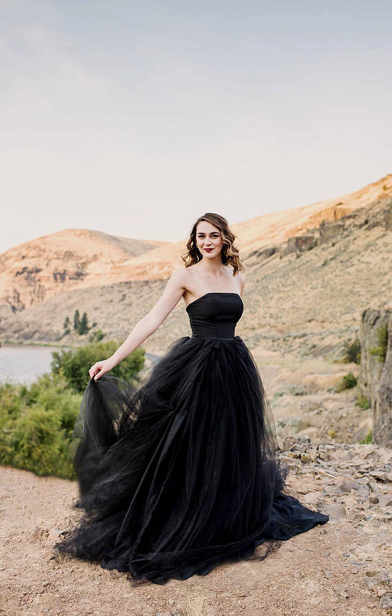 Black Wedding Gown.Chic Black Wedding Dresses A Line Long Simple Country Wedding Dress Amy057