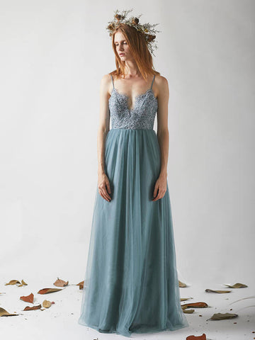 Chic Spaghetti Straps Prom Dress Tulle Blue Lace Long Prom Dress Party Dress AMY062