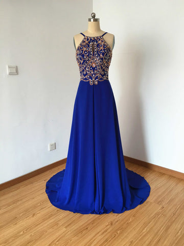 Chic Royal Blue Prom Dress A-line Spaghetti Straps Chiffon Prom Dress Party Dress AMY064